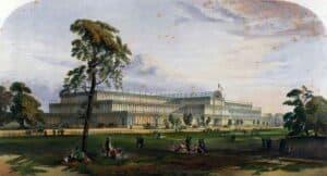 Vista geral de The Crystal Palace no Hyde Park, em 1851