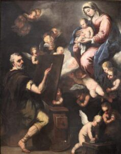 St. Luke painting the Virgin Mary. Oil painting of Luca Giordano (c. 1650-55, at the Museum of fine arts of Lyon-France).